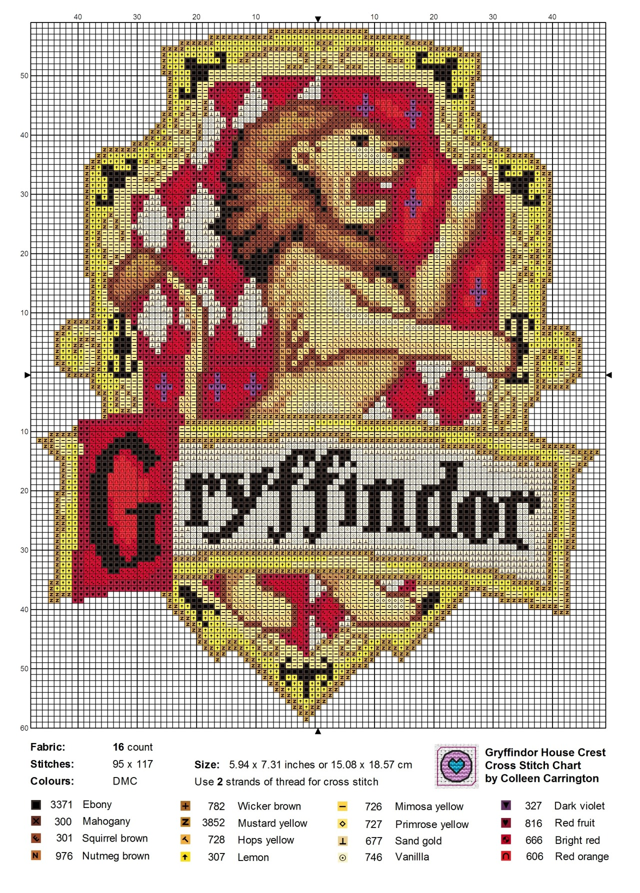 needlepoint stitches stitch diagrams john deere 455 pto wiring diagram the world in  gryffindor house crest cross