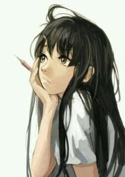 cute anime girl with black hair