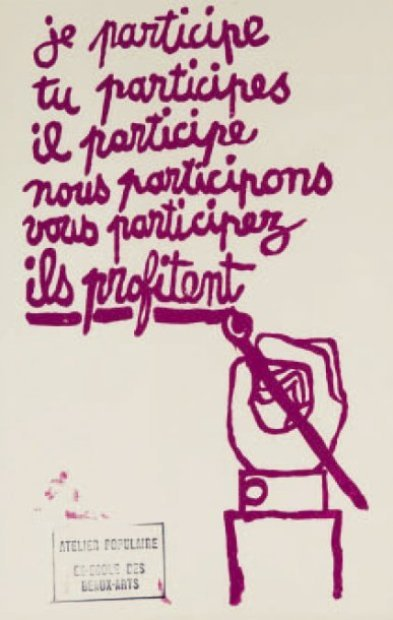 Protest Poster by the Atelier Populaire in France. This art was produced in an occupied art school and was distributed anonymously..