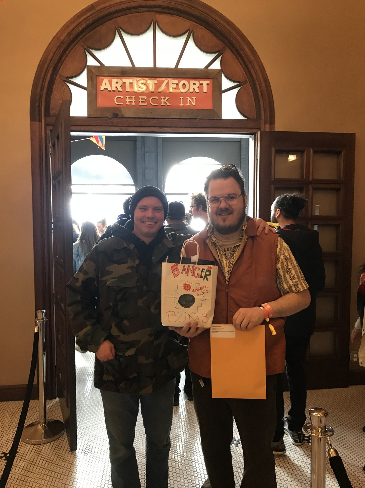 """seethrushears:  Danger Bomb (DJ Winkle of KRBXs """"Bangers and Mashups"""") picking up their swag bag at Artist Check-in. The fun is just beginning. NMA"""