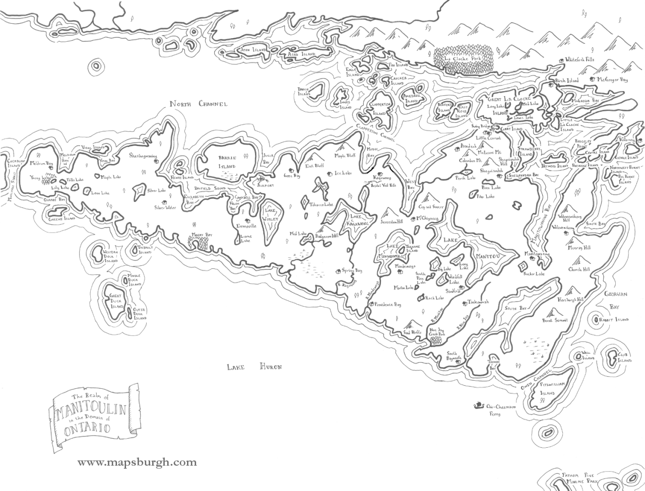 Mapsburgh — Fantasy map of Manitoulin Island, Ontario