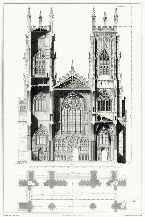 York cathedral church. Elevation and section of...