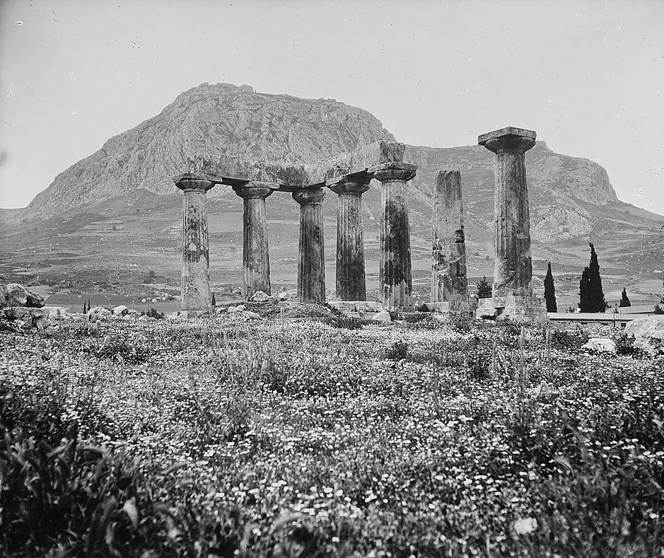 "humanoidhistory: ""The Temple of Apollo in old Corinth, Greece, circa 1955, courtesy of the Library of Congress. """