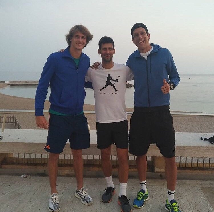 Novak with Alexander Zverev and Marcelo Melo in Monte Carlo on…