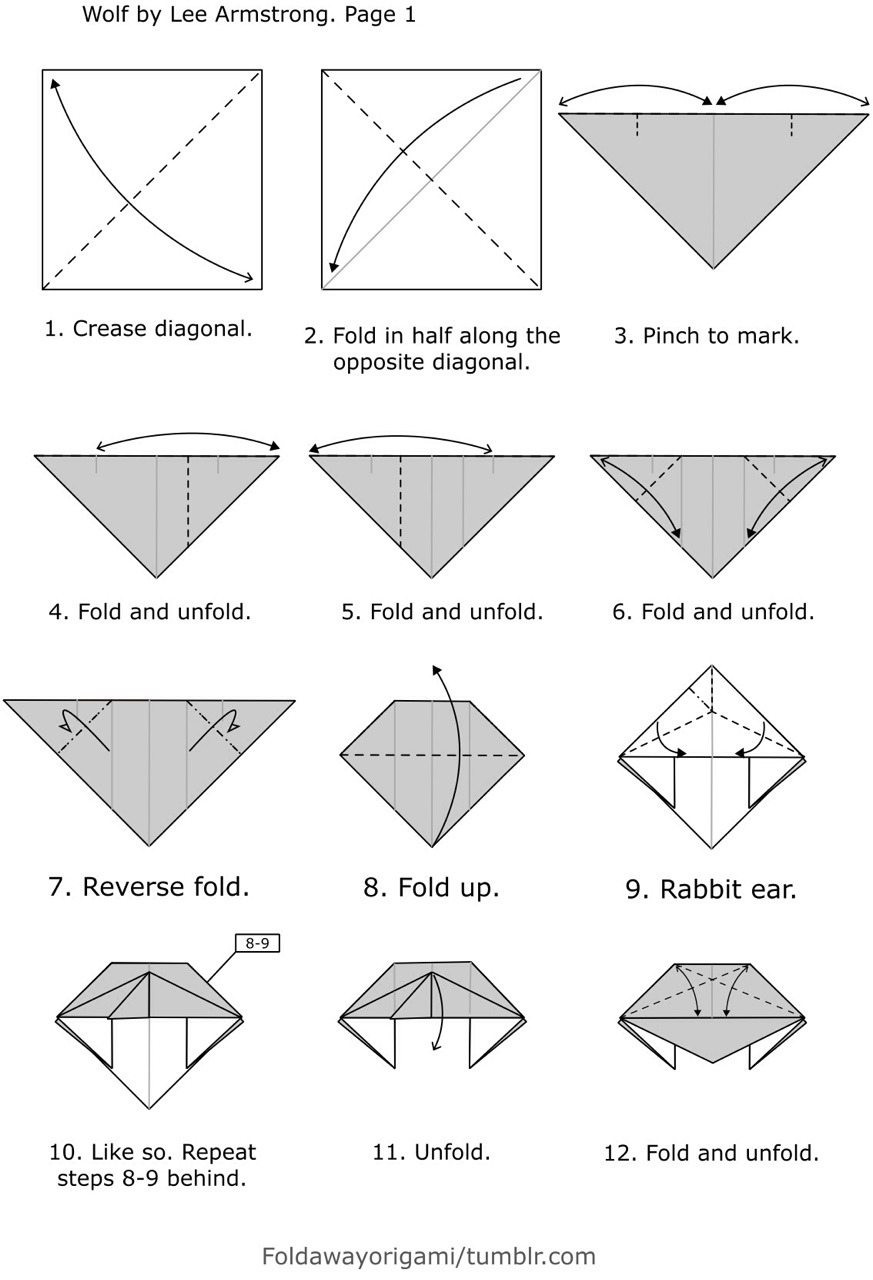 origami wolf instructions diagram 4 pin relay wiring lights foldaway — each model is folded from a single uncut...
