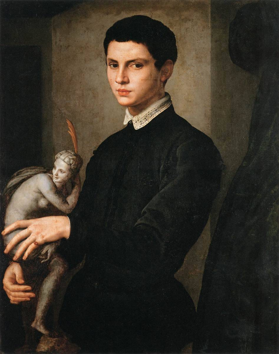 """napoleonicrevival: """"Agnolo Bronzino, Portrait of a Man Holding a Statuette, ca. 1540–'55 """""""