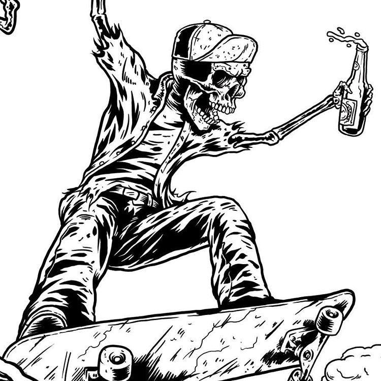 Marcos Cabrera Doodles! — Skeleton bowl ripper. Work in