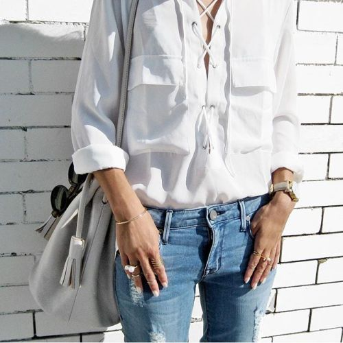 $25.99 White lace up blouse. Get it »here« !