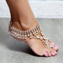 Gold Beach Wedding Barefoot Sandals