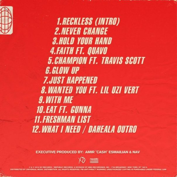 224adf5eb0d7 Reckless (Artwork & Tracklist) – Nav
