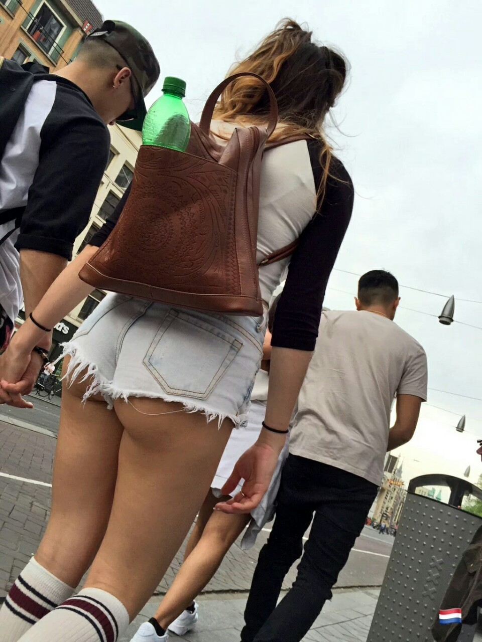 Candid  ass booty tight candid teen ShortShorts