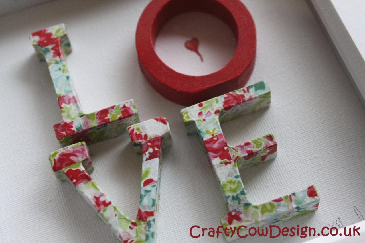 Decoupage Shadow Box Frame ~ Love ~ Love Wall Art Wooden Wedding Gift,  Letters Wall