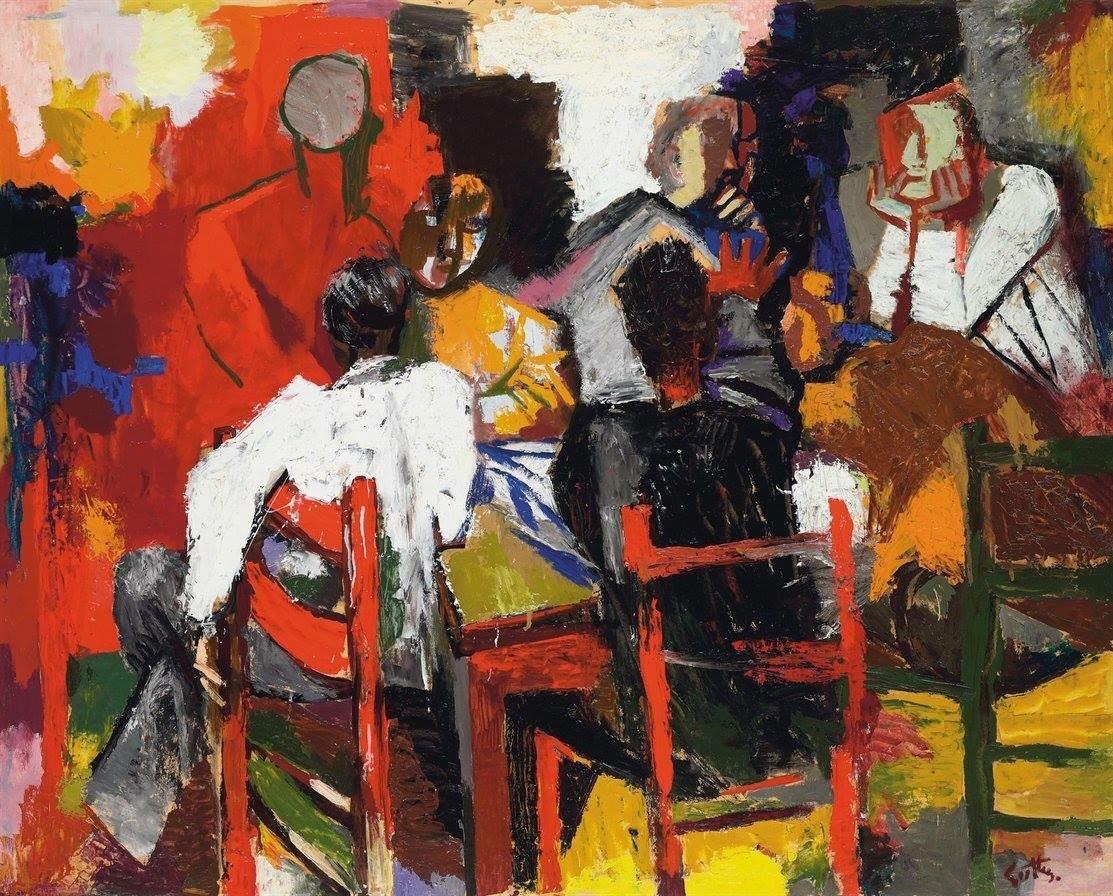 """terminusantequem: """"Renato Guttuso (Italian, 1911-1987), Giocatori di carte (Amici all'osteria), 1957. Oil on paper laid on canvas, 106.6 x 132 cm """""""