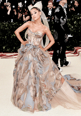 Ariana Grande attends the Heavenly Bodies: Fashion & The Catholic Imagination Costume Institute Gala at The Metropolitan Museum of Art on May 7, 2018 in New York City.