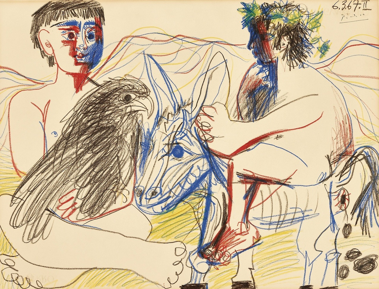 """atmospheric-minimalism:""""Pablo Picasso, Adolescents, aigle et âne II, 6-March/1967, Colored crayons on paper, 49,5 x 65 cm"""""""