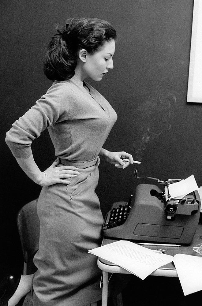 Alice Denham and her typewriter, 1956