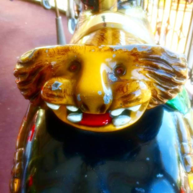I'm at Great America with my family, and on the saddle of a carousel animal was this friendly……