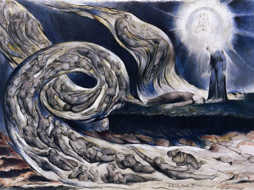 "huariqueje: "" The Lovers Whirlwind * - William Blake British, 1824-1827 * illustrates Hell in Canto V of Dante's Inferno . """