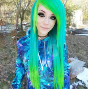 teal emo hair