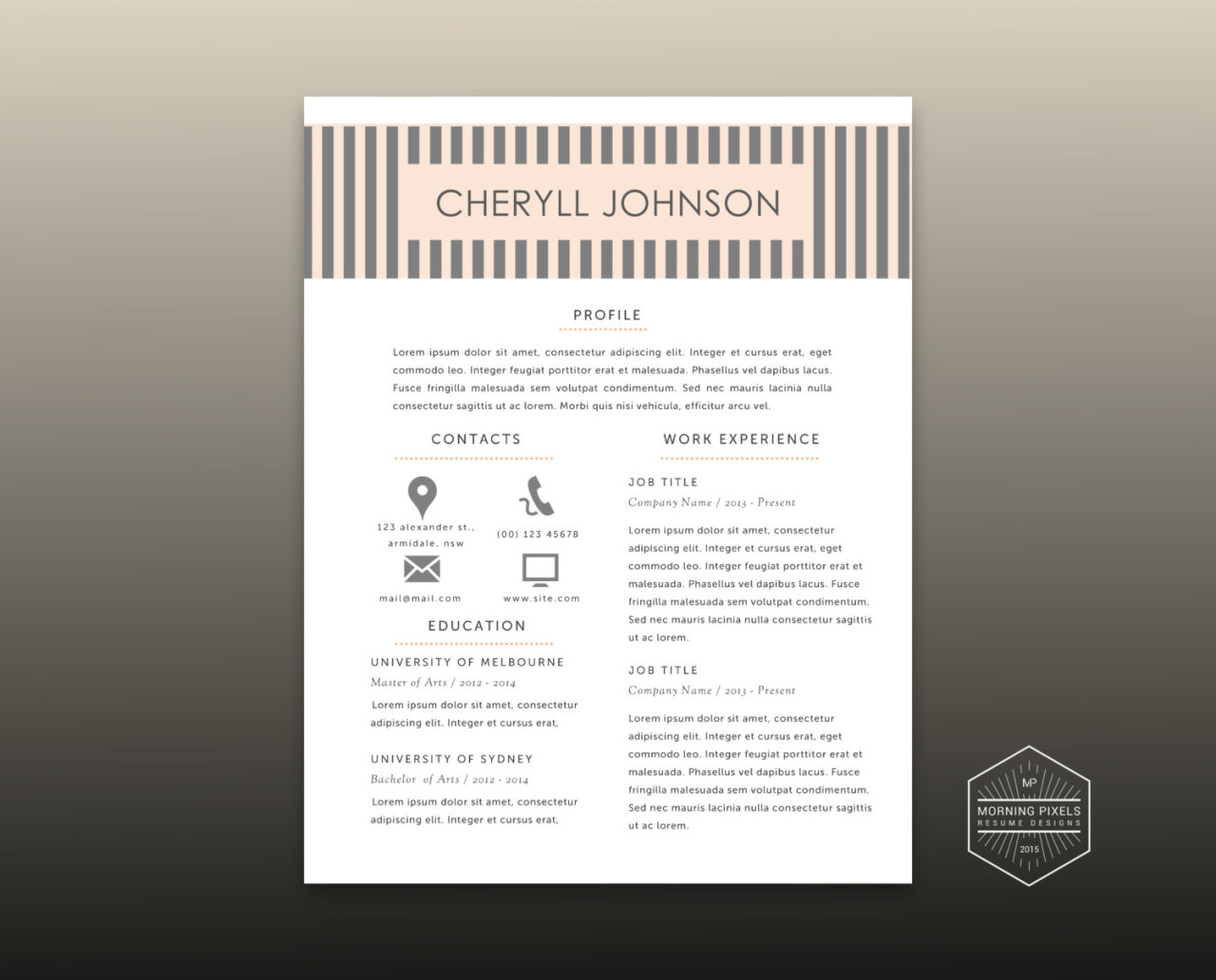 3 Pk Modern Resume (2 Pages), Cover Letter, Reference Templates For Ms