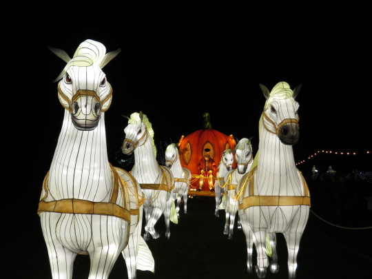 Longleat's Festival of Light celebrating fairy tales with Chinese lanterns in the shape of Cinderella's carriage.