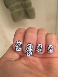 blue and white nail art | Tumblr