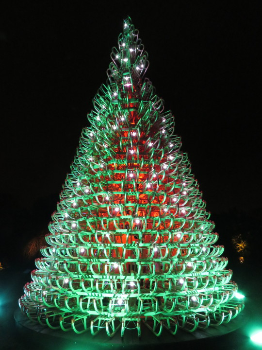 A tree made out of sledges at Christmas at Kew