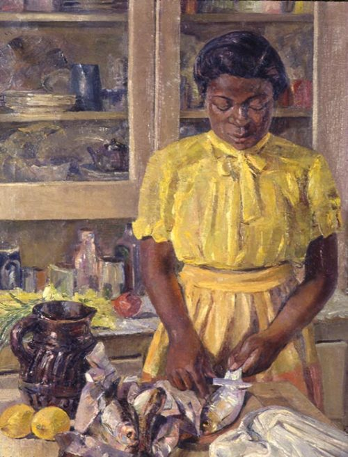 "etimaetteumoh: ""  Jennie (cleaning fish), 1943, by African American artist Lois Mailou Jones yellows for spring! """