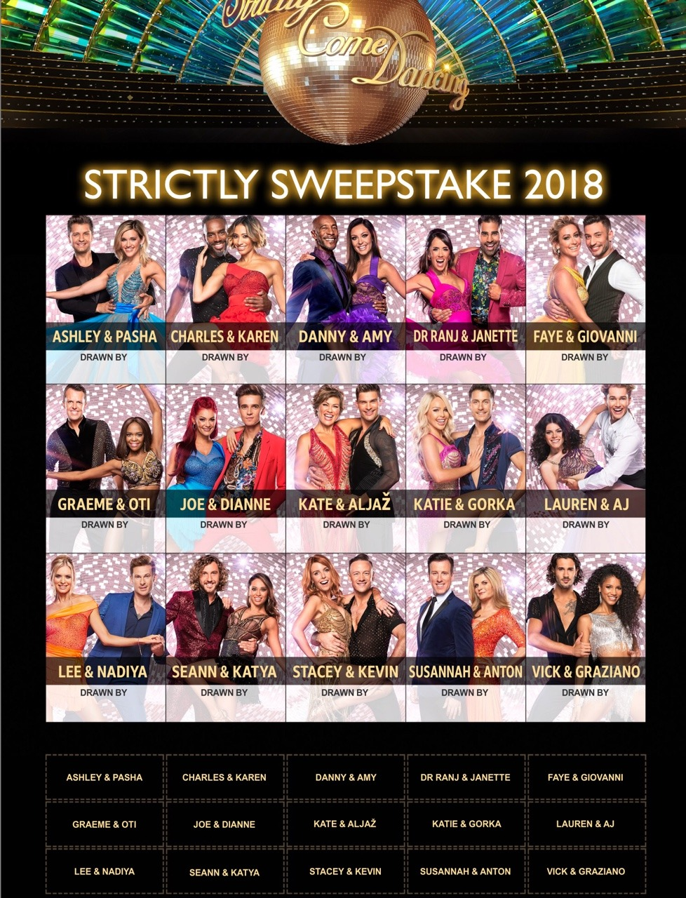 Strictly come dancing sweepstake 2018