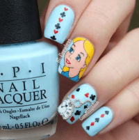disney alice in wonderland inspired nails