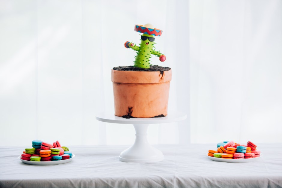 Mischief Maker Cakes I Dancing Cactus Cake I Fiesta Cake #mischiefmakercakes #themischiefmaker #macarons #frenchmacarons   #firstbirthday #fiesta #mexico  #cactus #birthdaycake #Mexican #fiestacake
