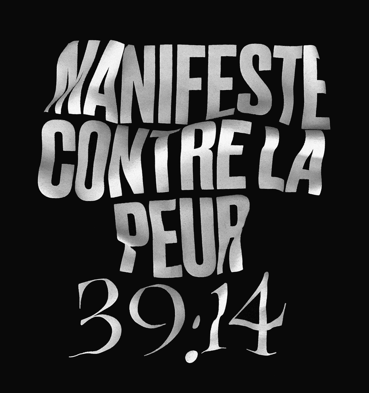 T-shirt for the Manifeste contre la peur tour by Violett Pi. Designed by Julien Hébert and David Beauchemin, 2017.