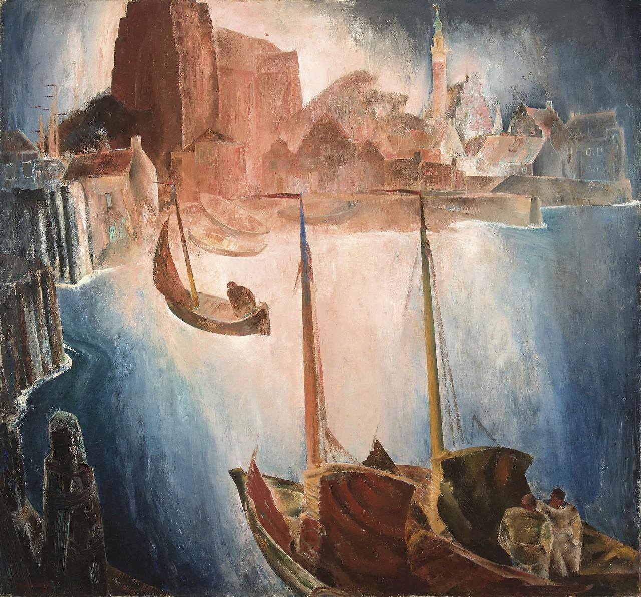"""thunderstruck9: """"Anto Carte (Belgian, 1886-1954), Le port de Veere, 1928. Canvas, 140 x 150 cm. """""""