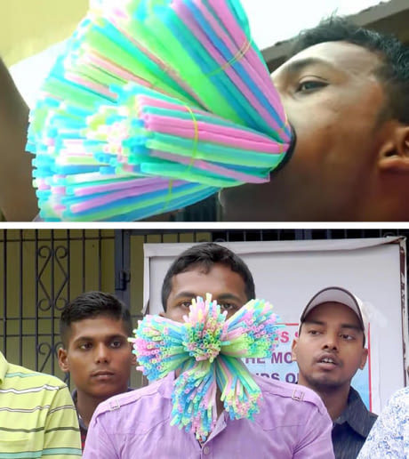 Man Successfully Shoves 459 Straws Into His Mouth And It's A New Guinness World Record