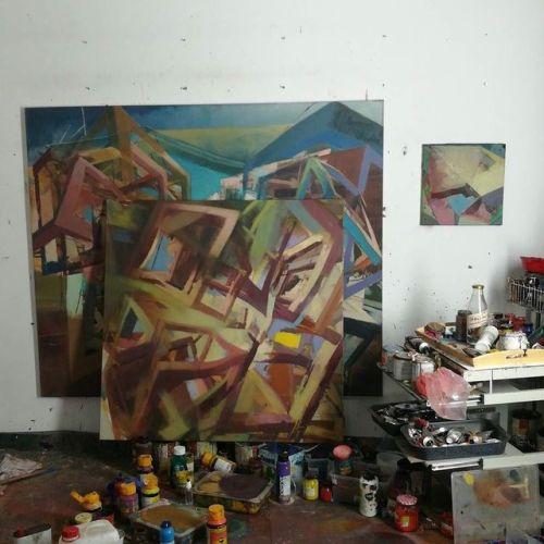 #studio #EggtemperaOil #stateoftheday #oiloncanvas #oilpainting #instaart #painting #grid #contemporaryart #peinture #fineart #berlinart #christophkern #malerei #contemporarypainting