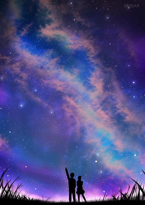Falling Stars Grunge Wallpaper Anime Galaxy Sky Tumblr