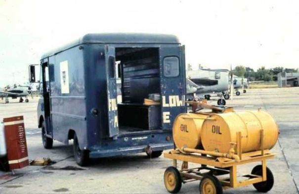 Vehicle and oil drums at Udorn Royal Thai Air Force Base