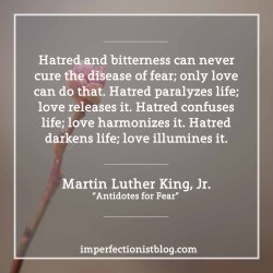 """Hatred and bitterness can never cure the disease of fear; only love can do that. Hatred paralyzes life; love releases it. Hatred confuses life; love harmonizes it. Hatred darkens life; love illumines it."" -Martin Luther King, Jr. (""Antidotes for Fear"")http://imperfectionistblog.com/2017/01/martin-luther-king-jr-on-fear/"