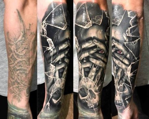 Shuttered Glass Cover Up Tattoo Best Tattoo Ideas Gallery