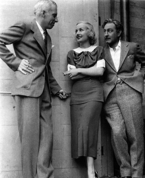 Carole Lombard on the set of Twentieth Century with Hawks and co-star John Barrymore.