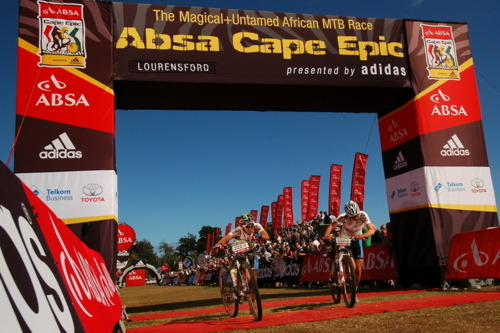 Type 1 diabetic Darol Howes crossing the finish of the 2011 Cape Epic