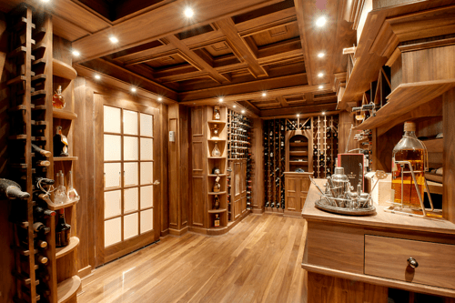 Wine Cellar Houses A Home Bar In Woodworking