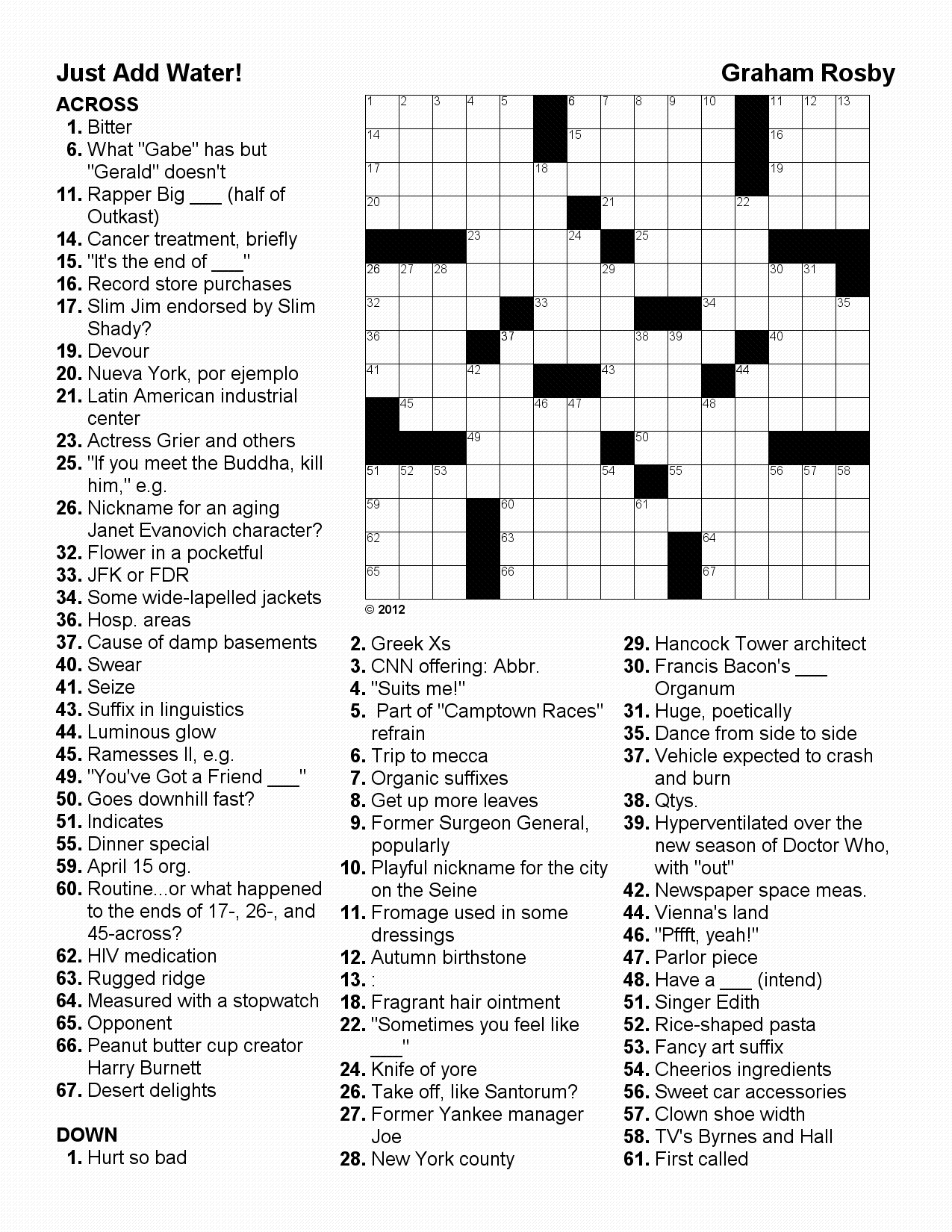 Crosswords by Graham Meyer Rosby — Crossword puzzles are