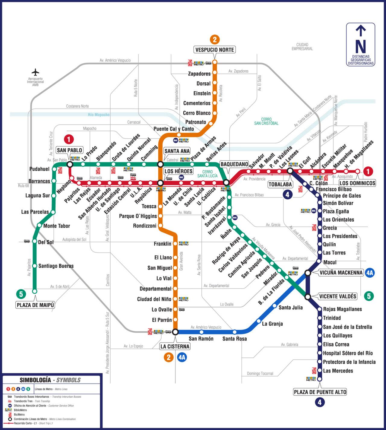 Official Map Metro De Santiago, Chile Here's  Transit