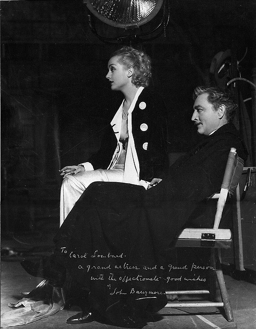 Signed photo on the set of Twentieth Century from John Barrymore to Carole Lombard