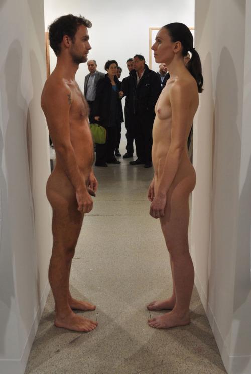 "tumblr_m71e69umz61qfc4xho1_500 ""Imponderablia"" Marina Abramovic & Ulay, re-performance. Contemporary"
