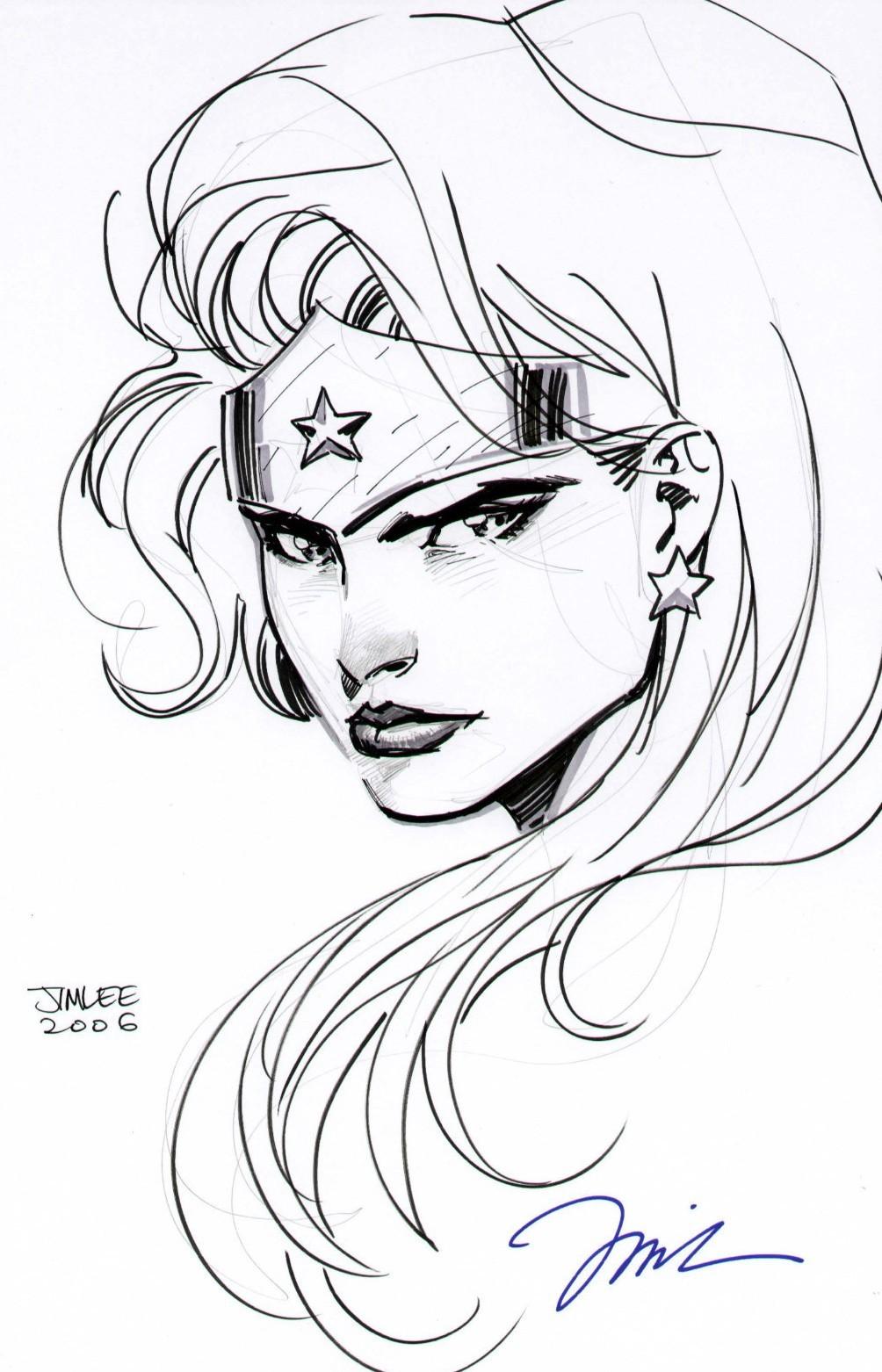Wonder Woman pen & ink by Jim Lee • Alternate World Comics