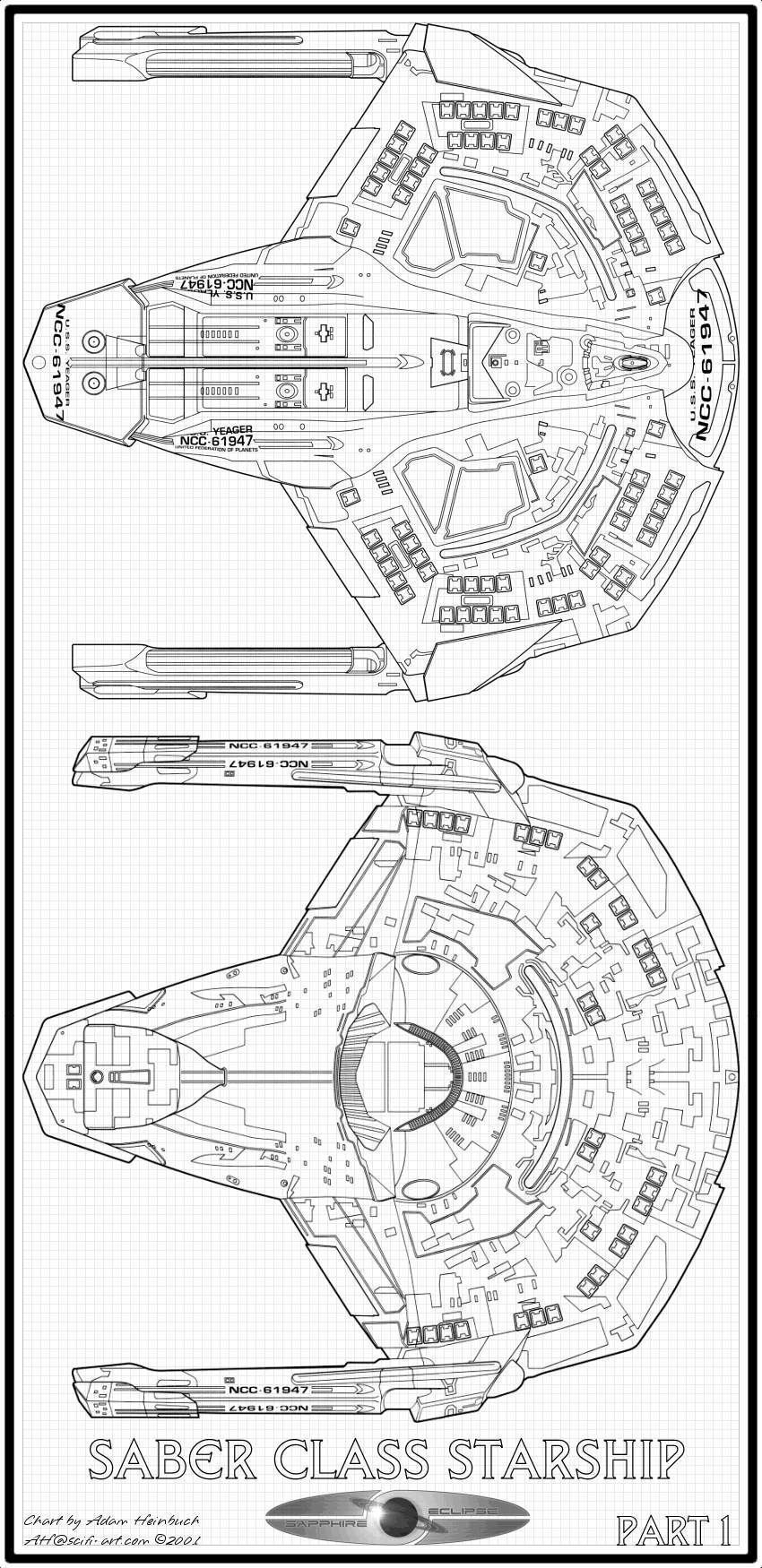 Starfleet ships — Saber-class starship dorsal and ventral