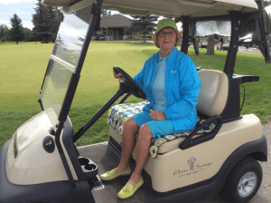 Me on the Golf Car cosy on a cool Calgary day