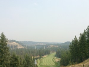 "The famous ""Monster"" hole with smoke from the fires."